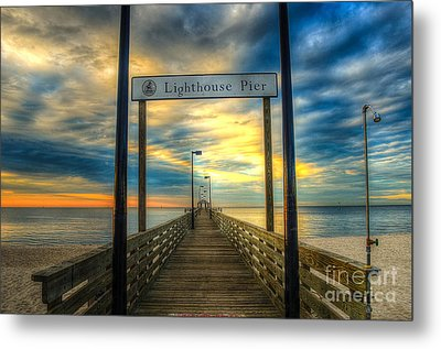 Lighthouse Pier Metal Print by Maddalena McDonald