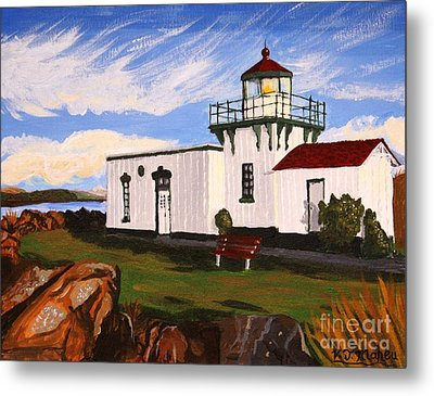 Lighthouse Point No Point Metal Print by Vicki Maheu