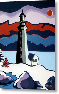 Lighthouse Red Sky Metal Print