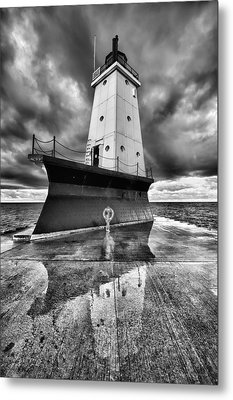 Lighthouse Reflection Black And White Metal Print by Sebastian Musial
