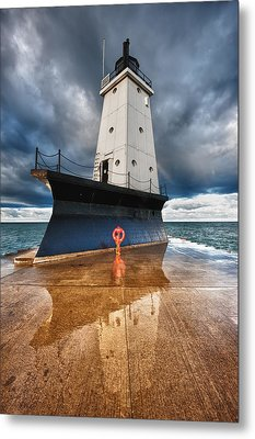 Lighthouse Reflection Metal Print by Sebastian Musial