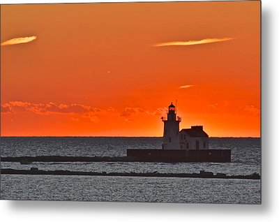 Lighthouse Sunset Metal Print by Frozen in Time Fine Art Photography