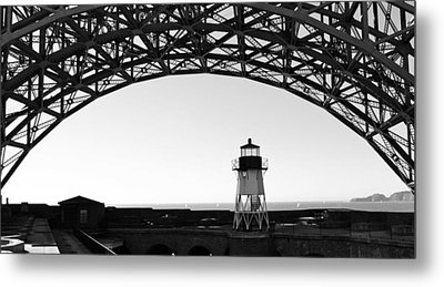 Lighthouse Under Golden Gate Metal Print by Holly Blunkall