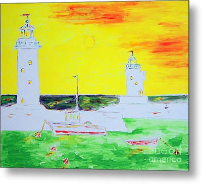Lighthouses True Trinity Metal Print by Richard W Linford