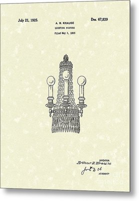 Lighting Fixture 1925 Patent Art Metal Print