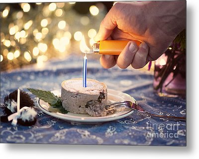 Lighting The Birthday Candle Metal Print by Juli Scalzi
