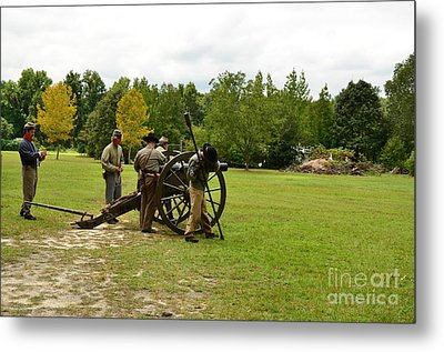 Lighting The Fuse Of A Civil War Canon Metal Print by Bob Sample