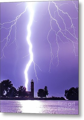 Lighting The Lighthouse Up Metal Print