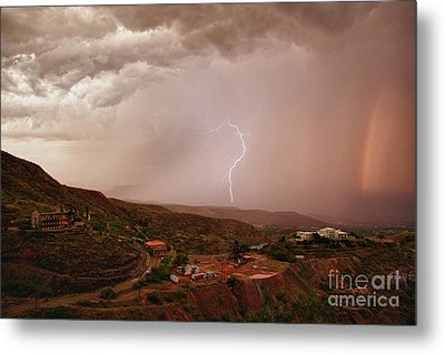Lightning And A Rainbow Metal Print by Ron Chilston