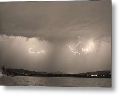 Lightning And Sepia Rain Over Rocky Mountain Foothills Metal Print