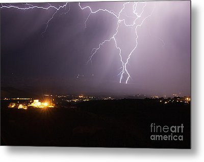 Lightning And The Douglas Mansion In Jerome Arizona Metal Print by Ron Chilston