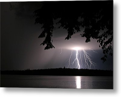 Lightning At Night Metal Print by Barbara West