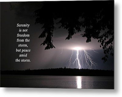 Metal Print featuring the photograph Lightning At Night - Inspirational Quote by Barbara West