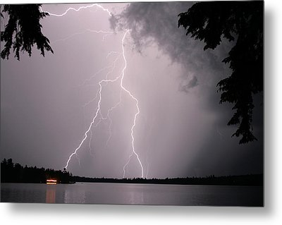 Lightning At The Lake Metal Print