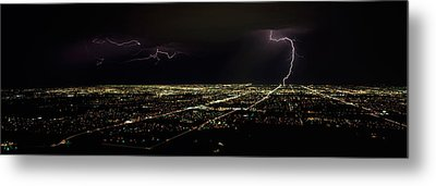 Lightning In The Sky Over A City Metal Print by Panoramic Images