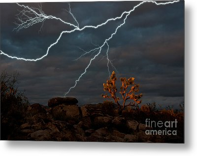 Lightning, Joshua Tree Highway Metal Print by Mark Newman