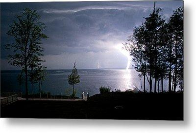 Lightning On Lake Michigan At Night Metal Print