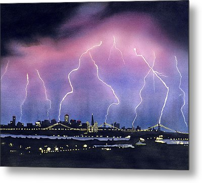 Lightning On The Bay Bridge Metal Print by Janaka Ruiz