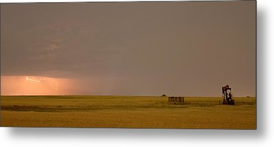 Lightning On The Horizon Of Oil Fields  Metal Print by James BO  Insogna