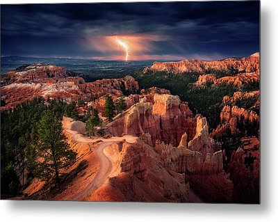 Lightning Over Bryce Canyon Metal Print by Stefan Mitterwallner