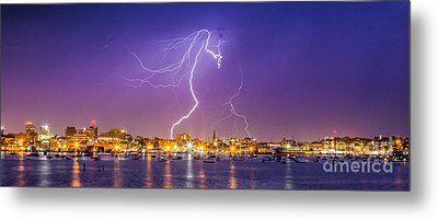 Lightning Over Downtown Portland Maine Metal Print
