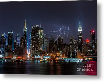 Lightning Over New York City IIi Metal Print by Clarence Holmes
