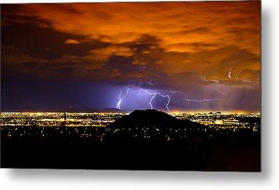 Lightning Over Phoenix  Metal Print by Saija  Lehtonen