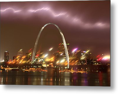 Lightning Over The Arch Metal Print by Garry McMichael