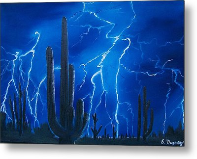 Lightning  Over The Sonoran Metal Print by Sharon Duguay