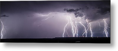 Lightning Over The Wind Farm Metal Print