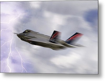 Lightning Speed Metal Print by Peter Chilelli