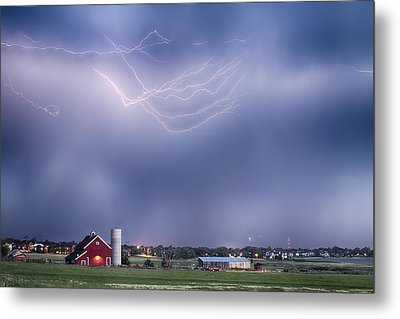 Lightning Storm And The Big Red Barn Metal Print by James BO  Insogna