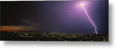 Lightning Storm At Night Metal Print by Panoramic Images