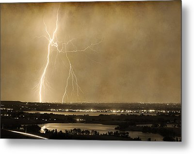 Lightning Strike Boulder Reservoir And Coot Lake Sepia 2 Metal Print by James BO  Insogna