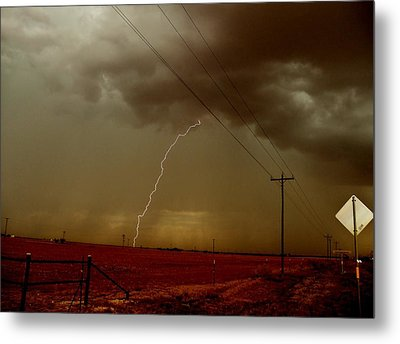 Metal Print featuring the photograph Lightning Strike In Oil Country by Ed Sweeney
