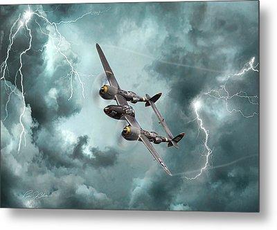Lightning Strikes Metal Print by Peter Chilelli