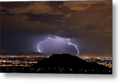 Lightning Strikes Phoenix  Metal Print by Saija  Lehtonen