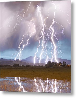 Lightning Striking Longs Peak Foothills 4c Metal Print