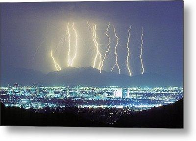 Lightning Striking Over Phoenix Arizona Metal Print by James BO  Insogna