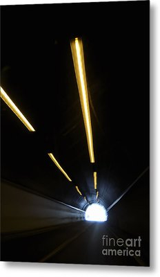 Lights Inside A Highway Tunnel Metal Print by Sami Sarkis