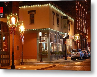 Lights Lowell Ma At Christmas Metal Print by Mary McAvoy