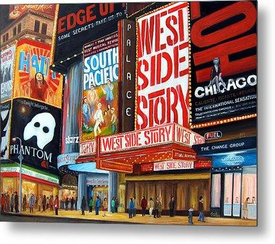Lights On Broadway Metal Print