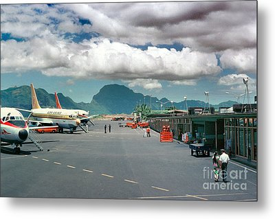 Lihue Airport With Cumulus Clouds In Kauai Hawaii  Metal Print