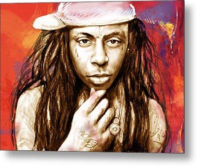 Lil Wayne - Stylised Drawing Art Poster Metal Print