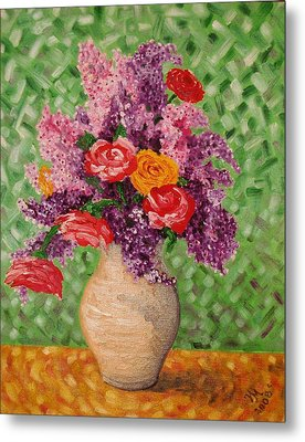 Metal Print featuring the painting Lilac And Roses by Nina Mitkova