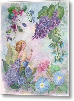 Metal Print featuring the painting Lilac Enchanting Flower Fairy by Judith Cheng