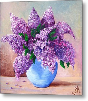Metal Print featuring the painting Lilac by Nina Mitkova