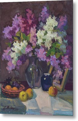 Lilacs And Blue Vase Metal Print by Diane McClary