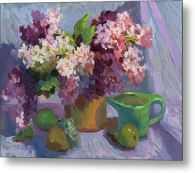 Lilacs And Pears Metal Print by Diane McClary