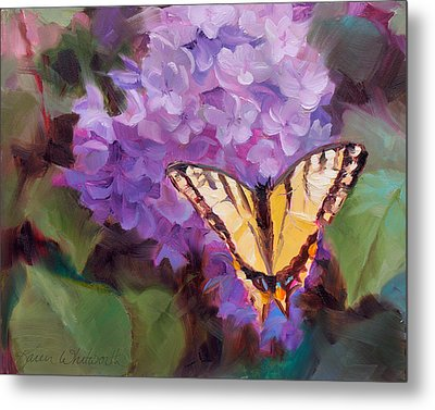 Lilacs And Swallowtail Butterfly Metal Print by Karen Whitworth